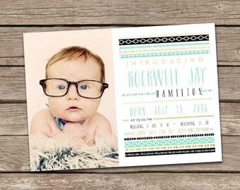 Baby Boy Birth Announcement: Rockwell Printable Custom Boy Aztec Tribal Birth Announcement