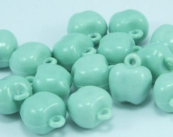 10 pcs apple Beads With Plastic Connector ,lime green Vintage German Beads , Plastic Beads , 12x13 mm ,