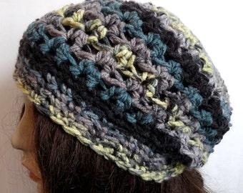 Crochet Slouchy Hat in Black, Dusty Purple, Teal for Teens and Women, Beanie