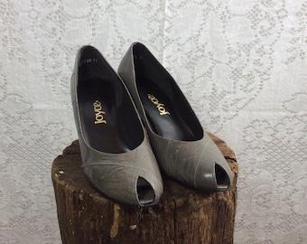 Vintage Gray Peep Toe Heels