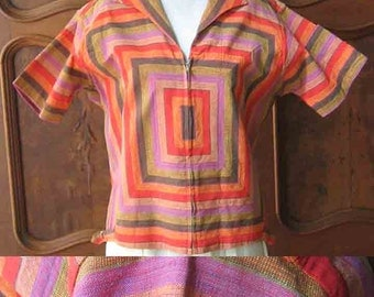 Vintage Zip-Up Hand Woven Shirt From Acapulco