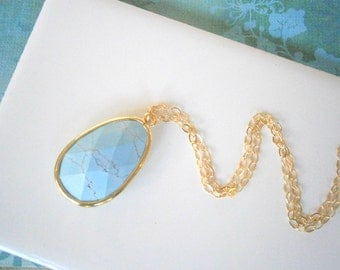 Turquoise Blue Necklace, Long Pendant Necklace, Gold Necklace, Best Friend Birthday, Gift for Her