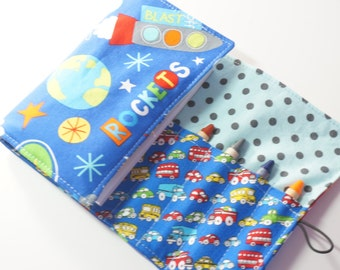Handmade Crayon Wallet - Rockets and Cars - space rockets.cars.party favor.toddler gift.art wallet - Crayons and Pad NOT INCLUDED