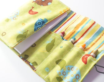 Mini Crayon Wallet - Animal Party Turtles in Green - turtle theme party favor.toddler gift.art wallet.green - Crayons and Pad NOT INCLUDED