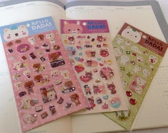Puffy Stickers, 3 Pack Set, lamb, bunny & bear, super cute amimals with rhinestones.