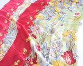 Floral SILK scarf / Wine marigold white pink gray olive blue flowers / rolled edge / silk scarf / Autumn / Occupied Japan / dragonfly