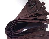 Dark brown YKK zippers 10 pcs, choose size 4, 5, 6, 7, 8, 9, 10, 12, 14, 16, 18, 20 inches, all purpose dress zips, YKK color 570, chocolate