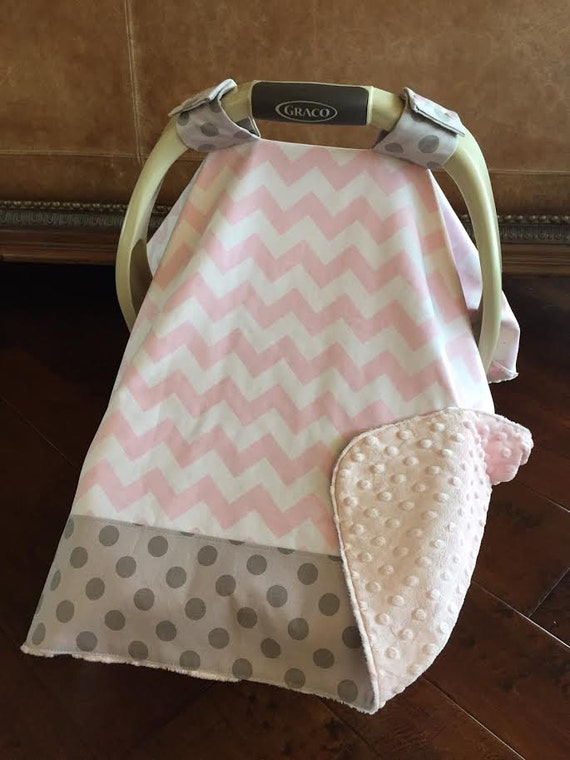 items similar to so cute baby car seat covers light pink chevron pink dimple dot minky. Black Bedroom Furniture Sets. Home Design Ideas