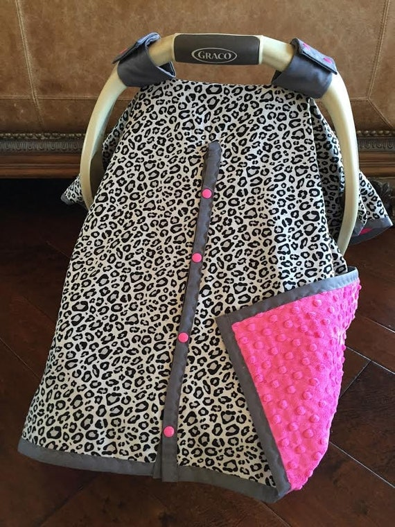 Baby Car Seat Cover Gray Cheetah With Hot Pink Minky With