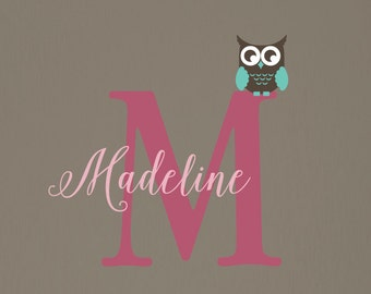Girls Name Decal, Owl Wall Decal, Personalized Decal, Wall Decals, Nursery Wall Decal