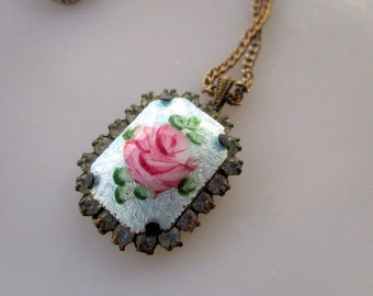 Vintage Guilloche Enamel Blue Rose Pendant with rhinestone