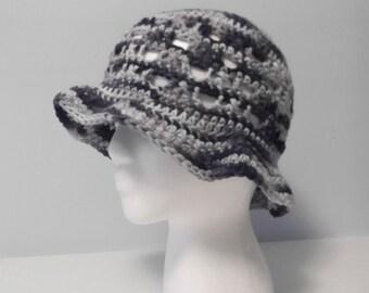 Brimmed Cotton Sun Hat - Denim - women - ready to ship
