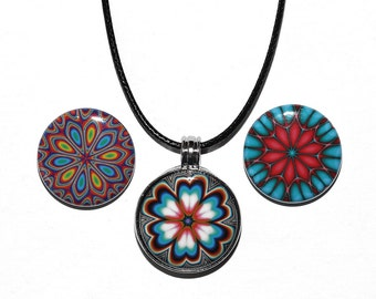 Color Sparks - Magnetic Pendant Necklace - with 3 inserts