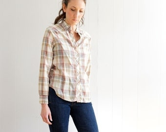 vintage 70s NEUTRAL muted tones plaid WESTERN long sleeve shirt S-M