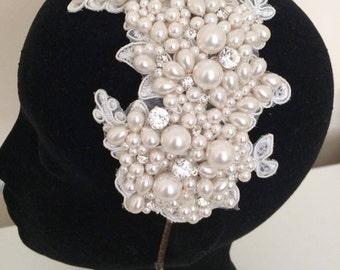Lace bridal headband, pearl bridal headband, bridal headpeice, vintage, statement