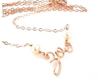 Custom Rose Gold Name Necklace with pink pearls. Personalized Rose Gold Name Necklace. AzizaJewelry.