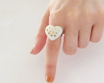Valentines Day Glass Heart Ring  14K gold polka dot, Bridesmaid gift, Wedding jewelry, Gift for Her