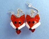 Fox Earrings - Handmade Lampwork Glass Bead Art SRA