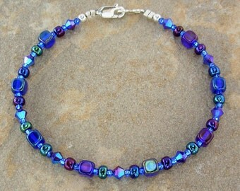 Iris Blue Bracelet with Swarovski Crystal and Cobalt Czechoslovakian Glass, Small - Plus Size - 7, 7.5, 8, 8.5, 9, 9.5, or 10 Inch