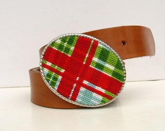 Needlepoint Christmas Plaid Belt Buckle