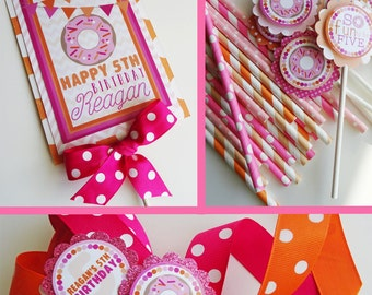 Doughnut Birthday Party Decorations Pink Orange, Donut Party Decorations, Breakfast Birthday, Sleepover Fully Assembled