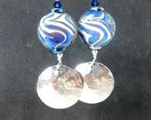 Blue White Purple & Silver Earrings, Hammered Sterling Silver Earrings, Boho Earrings, Metalwork Dangle Earrings, Lampwork Earring Willow