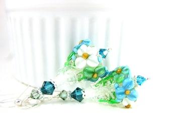 Floral Earrings, Blue Mint Green White Earrings, Botanical Earrings, Floral Jewelry, Lampwork Earrings Flower Earrings Glass Earrings Azalea
