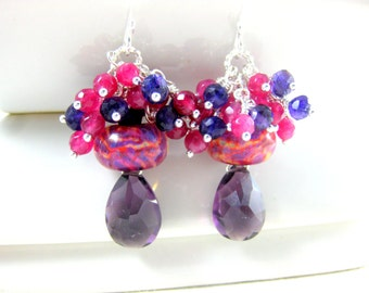 Gemstone Cluster Earrings, Pink Purple Yellow Glass Earrings, Ruby Quartz Amethyst Earrings, Boro Lampwork Earrings, Gemstone Jewelry - Cake