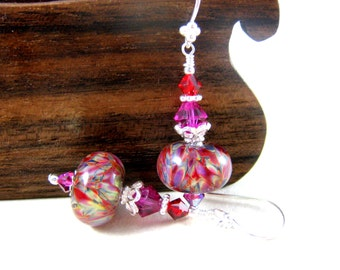 Sterling Silver & Glass Earrings, Red Purple Pink Earrings, Art Glass Earrings, Boho Earrings, Boro Lampwork Earrings, Dangle Earrings - Taz