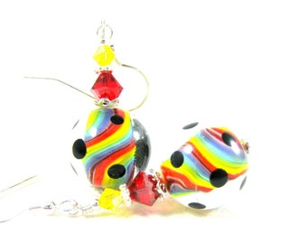 Rainbow Earrings, Lampwork Earrings, Colorful Glass Jewelry, Rainbow Jewelry, Dangle Earrings, Pride Earrings, Bead Earrings - Rainbows