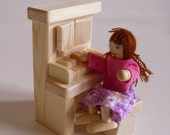 Wooden Toy, Doll House Natural Wood Pretend Piano, Handmade Dollhouse Accessory, Furniture, Kids gift, Waldorf inspired, Jacobs Wooden Toys