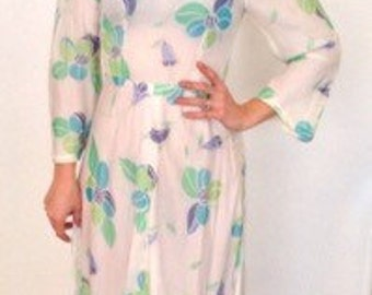 French vintage 1970s cream off white floral dress  with green and blue - small S medium M
