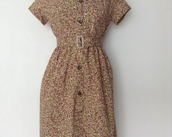 French vintage 1950s brown and green cotton day dress - medium large M L