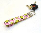 Wristlet Key Fob Amy Butler Fabric Keyring Keychain Daisy Chain Kaleidoscope Floral Pink Chartreuse Handmade