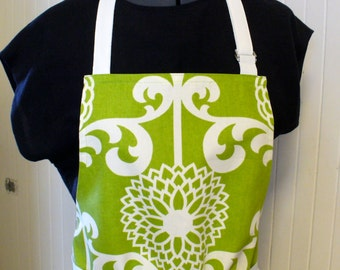 Womens Apron Full Apron Chefs Apron Adjustable Apron Fun Floret Lime Green and White Floral Mums Handmade MTO