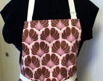 CLEARANCE SALE Amy Butler Fabric Womens Apron Full Apron Chefs Apron Adjustable Apron Nigella Imperial Fans Pink Brown Handmade