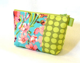 Amy Butler Fabric Large Cosmetic Bag Zipper Pouch Padded Makeup Bag Cotton Zip Pouch Bliss Bouquet Teal Turquoise Pink Lime Floral