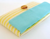 iPhone 6 Pouch, iPhone 6 Plus Sleeve, iPhone 6S Sleeve, iPhone Fabric Foam Padded Cover - Aqua + Yellow Stripe
