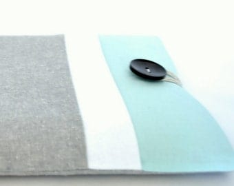 "12"" MacBook Case, Color Block Laptop Case 13 inch Laptop Sleeve - Aqua Gray"