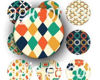 Retro Patterns   - 252  12mm Circle JPG images - Digital  Collage Sheet