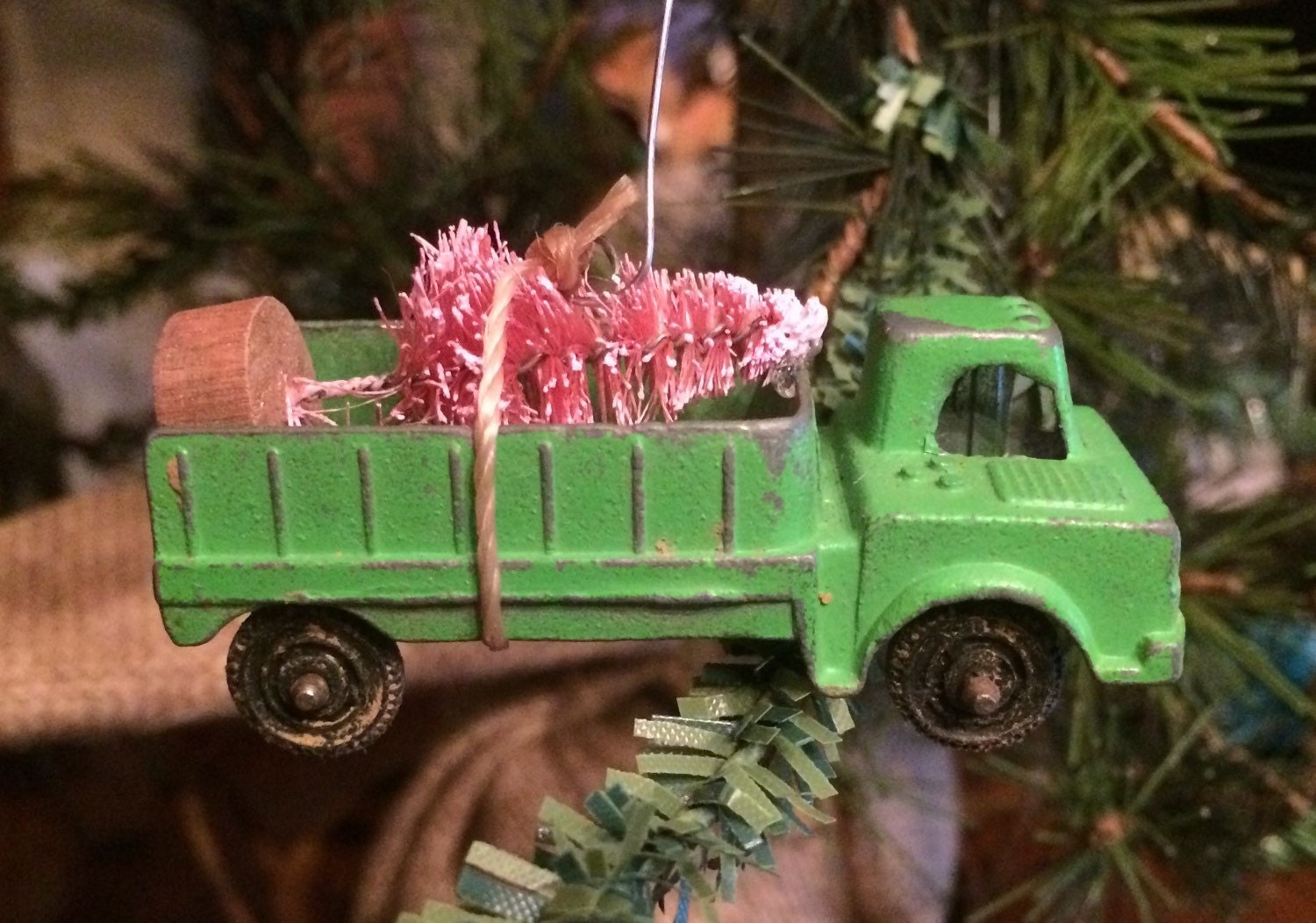SALE Vintage Truck Carrying PINK Christmas Tree Ornament
