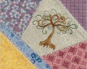 Machine Embroidery Design-ITH-Crazy Quilt Block-Tree Of Life with 4 sizes included!
