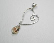Oregon Sunstone Heart Pendant in Sterling Silver - 2ct - handcrafted - sunstone pendant