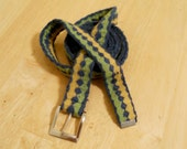 Medieval Tablet Weaving Belt in Green, Blue, and Yellow Wool