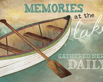 Lake Wall Decor,Memories At The Lake,Canoe,Marla Rae,Memories At The Lake,18x12, Wood Sign