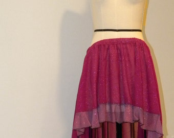 Pink and Lavender Sparkle Sheer Flamenco Skirt