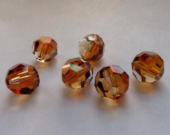 10mm Crystal Copper Swarovski Round Beads ~ (6)
