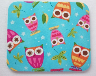 Mouse Pad mouse pad / Mat -  round or rectangle - On A Whim Owls Aqua - office accessories desk home decor