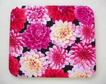 Mouse Pad mousepad / Mat - Rectangle or round - dahlias - pink - coworker gift - mothers day - desk accessories