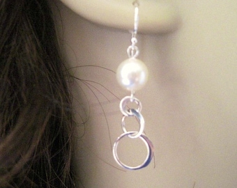 Sterling Silver Pearl and Circle Earrings